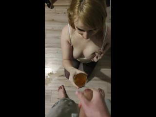 DRINKING FULL GLASS OF CUM AND PISS COCKTAIL!