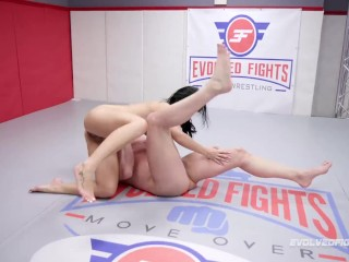 Busty Crystal Rush debut in mixed nude wrestling vs Brad Sterling