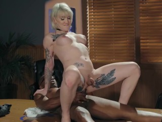 Transangels - Busty Blonde Tranny Lena Kelly Takes A BBC Up Her Ass Raw