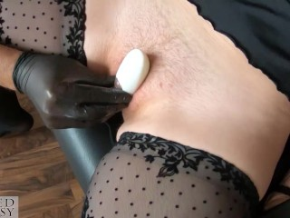 Clit pumped pussy with clamps gets masturbated hard with high speed toy