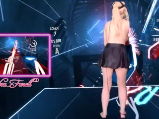 Hot Topless Gamer Girl Plays VR Video Game