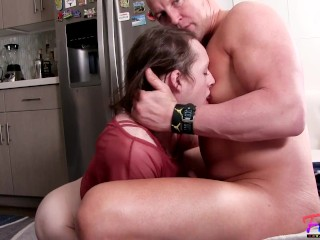 blowjob from sexy femboi sissy Kylie Kottonmouth in my kitchen