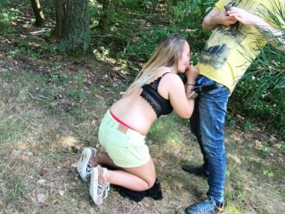Amateur Girl Persuaded into Cock Sucking at First Date - Public Blowjob