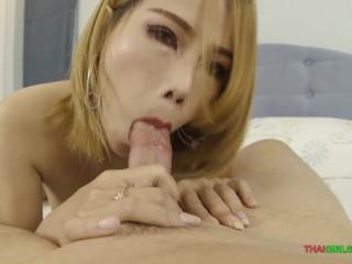 White-skinned Thai girl blowjob and creampie