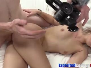 Coed Nicole cum sprayed after hardcore casting penetration