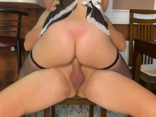 FUCKED STEP-SISTER IN MAID'S SUIT. CUM RIGHT IN HER PUSSY