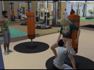 Public sex in the gym on the simulator | Anime Porno Games