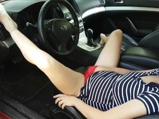 Crazy milf makes public masturbation in the car with real orgasm