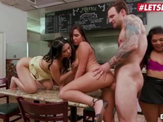 ScamAngels - Gina Valentina American Teens Crazy Foursome With Restaurant Owner - LETSDOEIT